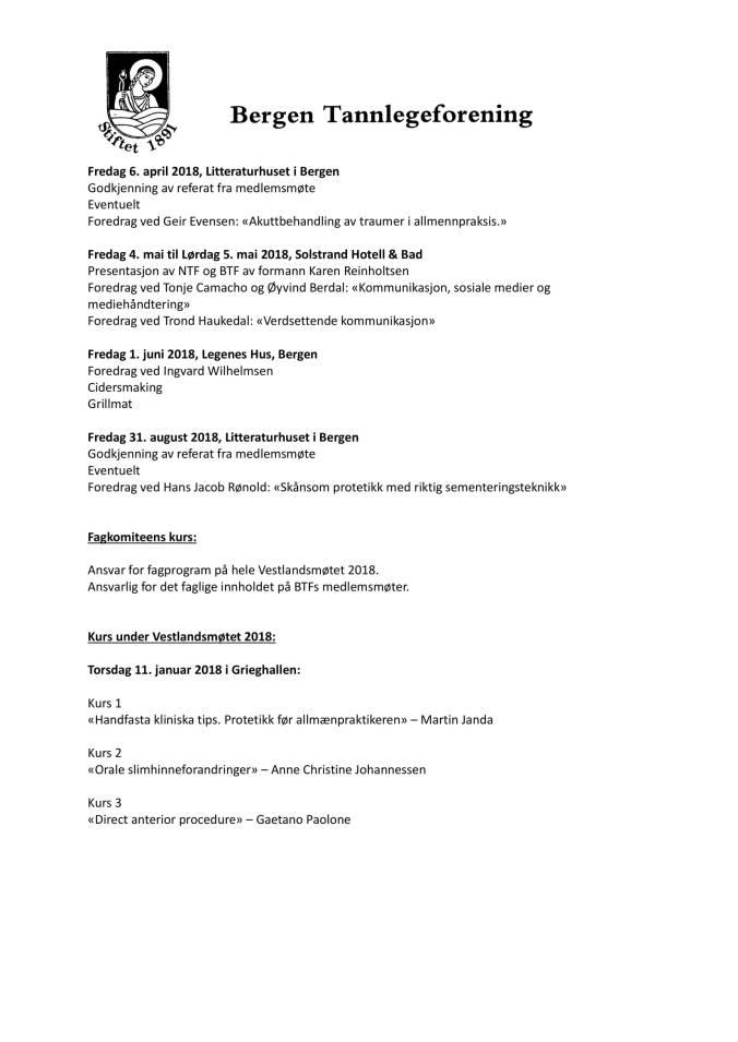 Saksdokumenter Generalforsamling i BTF 2018-05